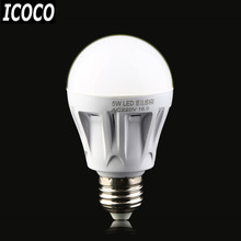 ICOCO 2017 New Arrival E27 LED Microwave Radar Motion Ambient Sensor Light Lamp Bulb AC85-265V 5W for Corridor Garage Yard
