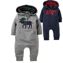 Baby Rompers Newborn Hooded Clothes Infant Hoodies Boys Romper for Winter Toddler Kids Clothing roupa infantil menino cheap