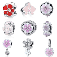 925 Sterling Silver Beads Red White Orchid Crystal Pink Enamel Lotus Magnolia Blooms DIY Charms Fit Original Pandora Bracelets