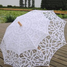 Free Shipping Vintage Lace Umbrella Handmade Cotton Embroidery White Beige Lace Parasol Umbrella Wedding Decor Photography Prop(China)