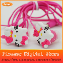 50 pcs/lot The Newest High Quality 3.5mm Hello Kitty Shaped Stereo Earphone Headphone For MP3 MP4 Mobile Phone
