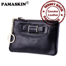 PAMASKIN Brand Genuine Leather Slim Women Coin Purses with Key Ring Chain Practical Female Day Clutch Key Wallets Hot Bow Design