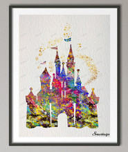 DIY Original watercolor Princess Cinderella Castle canvas painting wall art poster Print Pictures Home Decoration wall hanging(China)