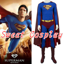 High Quality Superman Returns Superman Costume for adult Halloween costumes Men Superhero Superman suit Cosplay Costume(China)