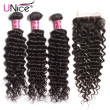 Unice Hair Company Brazilian Deep Wave Bundles With Closure 4 PCS Free part Human Hair Extension Natural Color Remy Hair Weaving(China)