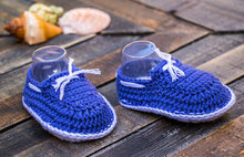 Blue and white nautical baby boy hand crocheted booties, crocheted baby snickers, crochet baby shoes