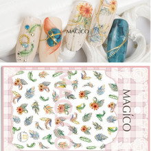 1 Sheet Feather Nail Decals Sticker Ultrathin 3D Nail Art Charms Blooming Stick On Nails Accesories(China)