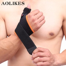 Aolikes Right/Left Sport Comfortable Wrist Thumb Hand Fixed Support Brace Sprain Guard Training Pain Wrist Belt Free Shipping