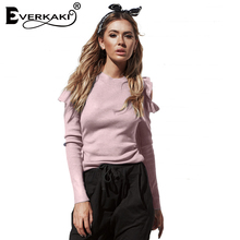 Everkaki Women Ruffles cold Shoulder knitted Sweater Pullovers Slim Sweaters Top Femme 2017 Casual long sleeve sweater for Women(China)