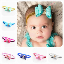 Wholesale Price 10PCS/Lot Rhinestone Core PVC Bow Decorated Glitter Elastic Headband Toddler Kids New Born Baby Headwear Jewelry