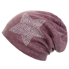 Unisex Men Women Classic Star Rhinestone Slouch Beanie Cap Cotton Hat wine Red One Size(China)