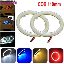 Tiptop New 2pcs White 110MM COB LED Angel Eyes Headlight Halo Ring Warning Lamps with Cover DEC5
