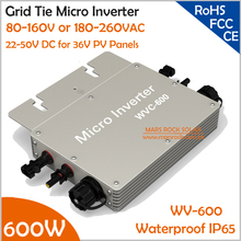 Waterproof 600W Micro Inverter with DC 22-50V Wide Input Voltage to AC80-160V or 180-260V High Efficiency MPPT Grid Tie Inverter