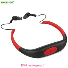 RACAHOO Neckband MP3 Player Waterproof IPX8 with FM Radio 8G USB Underwater Sports Swimming diving Stereo Headphones Music MP3(China)