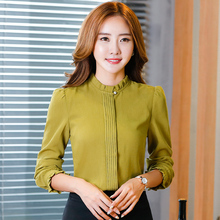 Lenshin Loose Shirt Stand Collar Long Sleeve Green Blouse Fashion Covered Button Chiffon Tops Female Office Elegant Women Wear