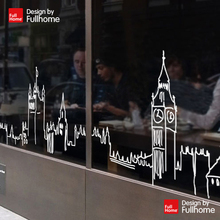 London Art Silhouette restaurant coffee tea shop glass window wall stickers decorative paving clothing store for men and women