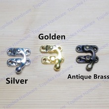 29*33mm Silver/Golden/Antique Brass Metal Hook Purse Hasp Lock Vintage Wooden Jewelry Box Latches Clasp Hasps Buckle