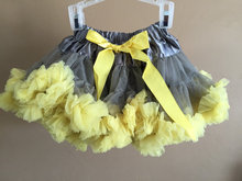Pettiskirt Skirt Petti Party Dance Tutu gray with yellow Girl petticoat