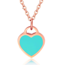 Tiamor Blue Enamel Chokers On The Neck Heart Love Stainless Steel Women Necklaces Pendants Rose Gold Color Charms Jewelry Ti945