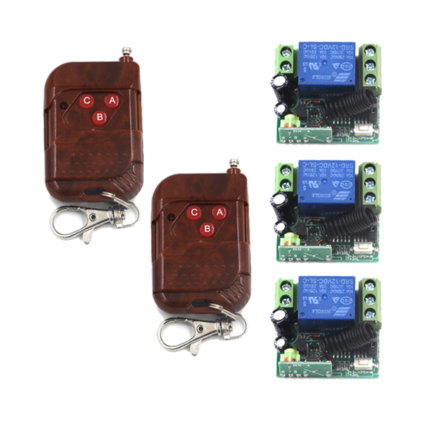DC 12V 1CH RF Wireless Remote Control Switch System,2X 3-ButtonTransmitter + 3 X Receiver Toggle/Momentary 315/433mhz SKU: 5382<br><br>Aliexpress