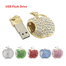 Fashion USB Flash Drive USB Flash Disk Gift apple Diamond Crystal Pen Drive 4GB 8GB 16GB 32GB 64GB USB 2.0 Memory Stick