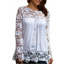2017 Summer Women White Lace Blouses Shirts Fashion Chiffion Blouses Hollow Out Top Female Plus Size Women's Clothing 4XL 5XL 50