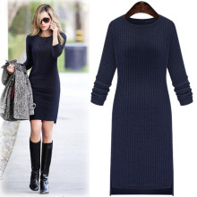 Woolen Sweater Women Winter Dress Knitted Vestidos Autumn Long Sleeve Office Work Straight Fashion Plus Size Dress XL-3XL,4XL(China)