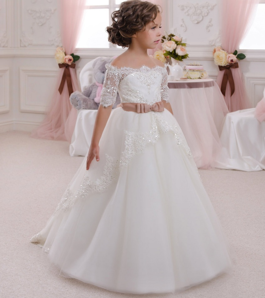 Simple cute 2019 lace appliques flower girl dresses custom made tulle ball gown for girls pageant dress fast delivery