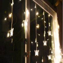Butterfly 96LED 3.5M curtain string lights 220V Christmas Garden lamps New year Icicle Lights Wedding Party free shipping