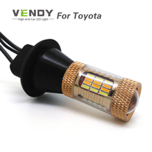 1Set 7440 WY21W Car LED lamp Bulbs Canbus Auto Turn Lights Daytime Running Lights For Highlander Prius Crown Prado Camry Corolla(China)