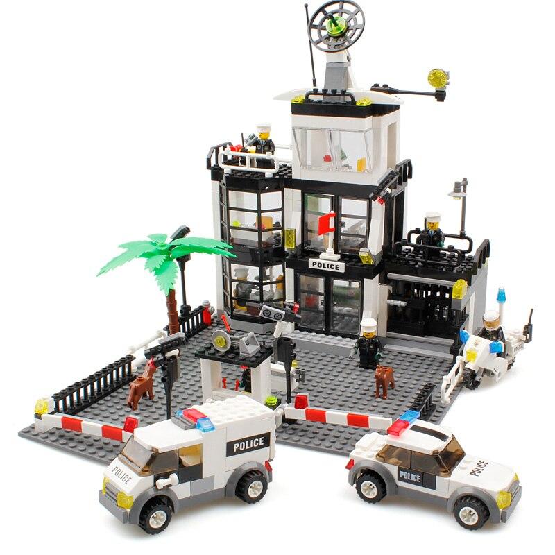 Police Station Building Blocks Toys Compatible Legos City Toys Police Figures Enlighten Bricks Blocks Toy For Boys Birthday Gift<br>