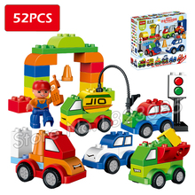 52pcs My First Creative Cars Variety of Car Story Big Size Building Blocks Bricks Baby Toy Compatible With Lego Duplo(China)