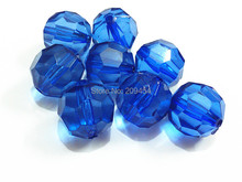 (Choose Size First) 10mm/12mm/14mm/16mm/18mm/20  RoyalBlue  Transparent Big Faceted Acrylic  beads