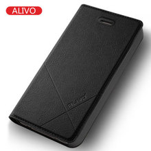 For iphone 4s Case High Quality Genuine ALIVO Flip Case iphone 4s Luxury Leather Cover For iphone 4s cases(China)