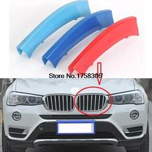 3D Clip-on ABS 3 Colors Car Grille Sport Decoration Trim Strip sticker covers car-styling for BMW X3 X4 Series 2011-2017