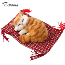 Lovely Simulation Animal Cloth Pad Sleeping Cat Animal Doll Plush Sleeping Cats Toy Cat Mat Doll Decorations Stuffed Toys