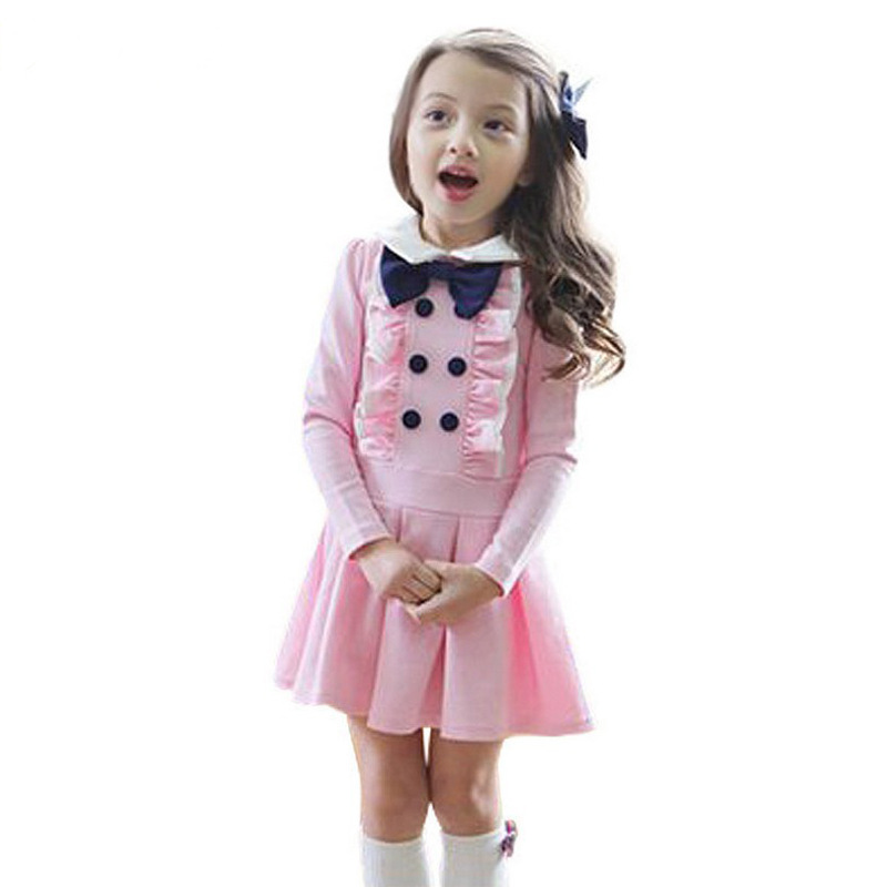 School Long Sleeved Dress Fall Butterfly Knot Princess Dresses Spot Kids Fashion Design Clothes Whosale Available<br>