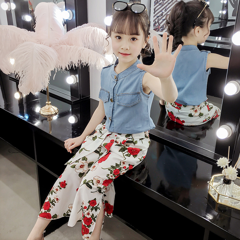 sleeveless denim tops+floral print loose pants chiffon summer outfits kid girls set children clothes 2019 kids clothing elegant