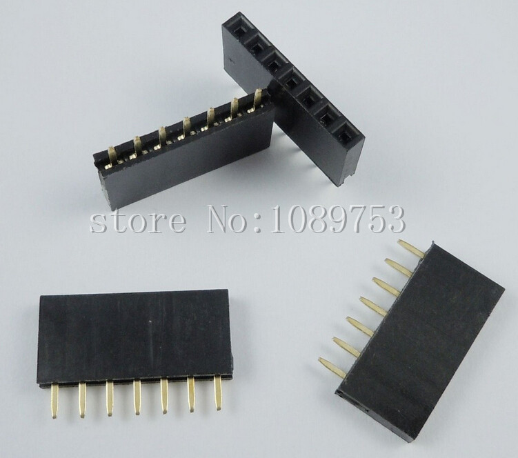 500PCS 7Pin 2.54mm Single Row Straight Female Pin Header 7P Strip PBC<br>