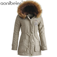 Aonibeier Winter Women Jacket Artificial Fur Collar Hooded Coat Warm Jacket Female Outerwear Casual Long Down Cotton Coats(China)