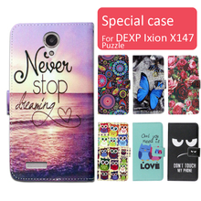 Fashion cartoon printed flip wallet leather case for DEXP Ixion X147 Puzzle with Card Slot phone bag book case,free gift