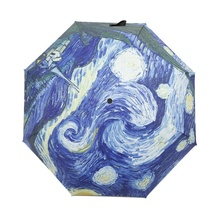 Automatic Umbrella Fashion Van Gogh Painting Parasol Beach Umbrellas Sun/Rain Women Umbrella(China)