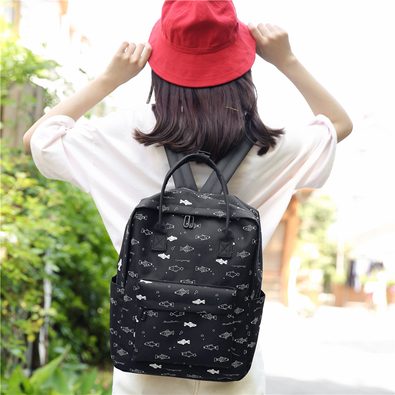 Menghuo Fish Printing Women School Bag Backpack for Teenage Girls Backpacks Female Canvas Children Schoolbag Women Bag s (52)