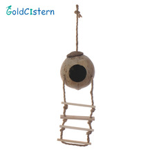 1 PCS  Wooden Parrot Toys Coconut Shell Wood Handmade Parrot House Matching Ladder Bird Toys for Parrot Newest 2016