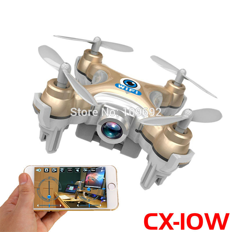 Free Shipping RC Drone Cheerson CX-10W CX10W MINI WIFI FPV Quadcopter 6-Axis 2.4G 4CH With 0.3MP HD Camera Helicopters Toy Gifts(China)