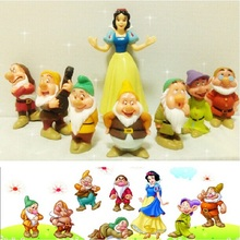 Animation Garage Kid Fairy Tales Model Toys: Action Figure PVC Dolls Snow White and Seven Dwarfs 8 Members Excellent Gifts