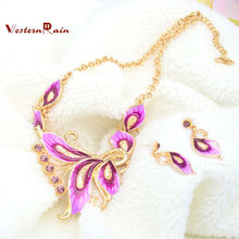 WesternRain Bright Pink Necklace Set Fashion Young Lady Accessories Nice Women Costume Fashion Jewelry Set N803(China)