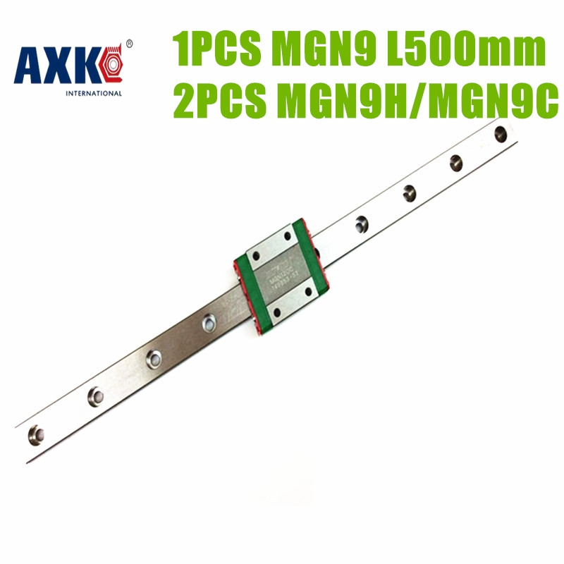 AXK  price MGN  linear guide rail miniature linear rail 500mm MGN9 with 2 blocks MGN9C or MGN9H for CNC X Y Z Axis  linear guide<br>