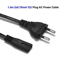 2 Prong Power Cable EU European Plug C7 Figure 8 AC Adapters Power Supply Cord 1.4m 0.75mm2 For Battery Chargers PSP 4