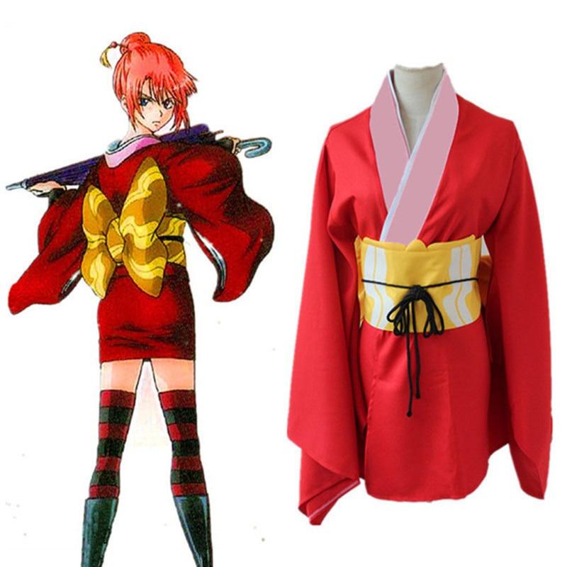 Gintama Silver Soul Hasegawa Taizou Cosplay Costume Red Kimono Free Shipping